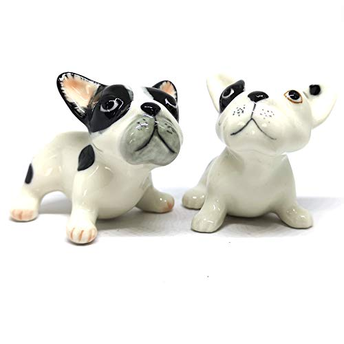 ZOOCRAFT French Bulldog Puppies Dog Black and White Ceramic Figurines Porcelain Figurine Miniatures Set of 2