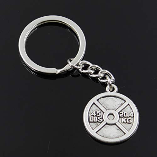 WWLIN Art undWeisemänner 30mm KeychainDIY Metallhalterkettenhantelscheibengewicht45lbs 20.4kg 24x28mm silbernes hängendes Geschenk