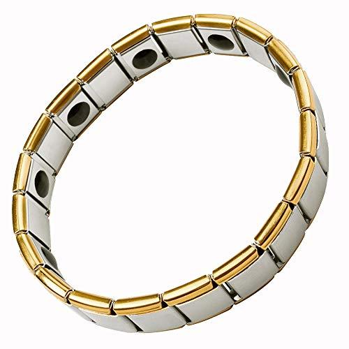ebuty Edelstahl Germanium und Magnet Energie Armband Stretch Länge erweitern Gold silberfarben in Geschenkbox