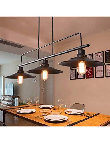 Gweat Lampadari in ferro industriale 3 luci per illuminazione ristorante Retro Club Bar Lampade a sospensione in loft 3x coperchio copri pentola creativo luce nera E27