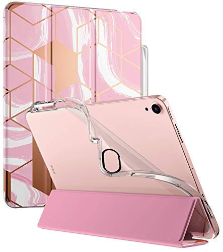 Popshine Marble Lite Case for iPad Air 4 2020 10.9 inch, Smart Cover with Pencil Holder, Flexible Soft Clear TPU Back, Slim Fit Trifold Stand Folio for iPad Air 4th Generation, Liquid Marble Pink
