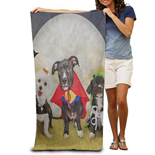 BNUJSAGIF Super weiches Badetuch Hipster Welpe Hund in Halloween-Kostümen schnell trocknend Strandtuch Reisetuch Schwimmbadetuch Große Größe 80 cm x 130 cm