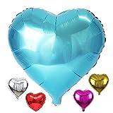 DIWULI, XL Herzballon, Luftballon in Herzform, Herz-Ballon blau, Herzluftballon, Herzfolienballon, Folien-Luftballon, blau Folien-Ballon für Geburtstag, Hochzeit, Verlobung, Dekoration, Liebe, Love
