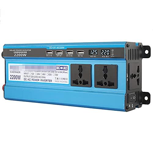 TERMALY Inversor De Corriente para Coche De 2200W, Transformador Convertidor De Voltaje para Coche De 12V CC A 220V con Enchufes De 3 Pines Y Puertos 4-USB,2200W12V