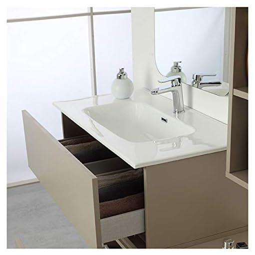 Mobile Bagno Sospeso Tortora L. 90cm Finitura Pastello Completo di Specchio