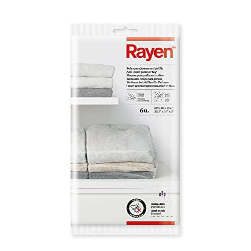 Rayen 6 Bolsas Jersey antipolilla, Polietileno, Transparentes, 82x40x13 cm