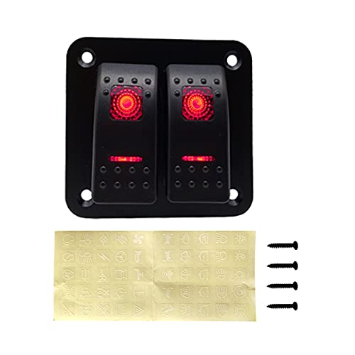 Accesorios de RV 2 Panel de interruptores de Rocker Gang 12-24V LED Impermeable Interruptor Interruptor Interruptor de Circuito para Coche Marine Boat Campper Caravans Travel Trailer para carpa coche