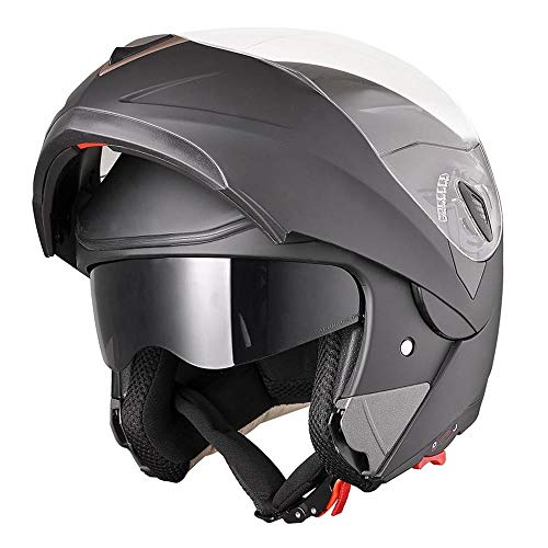 AHR Run-M Full Face Flip up Modular Motorcycle Helmet DOT Approved Dual Visor Motocross Matt Black XL