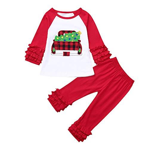 Cuteelf Baby Langarm Weihnachten Bestickt Rüschen Top T-Shirt + Hose Zweiteiler Kinder Mädchen Weihnachten Plissee Niedliche Kleidung Set Indoor Comfort Pyjamas