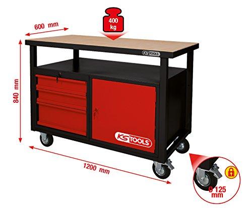 KS Tools 8650101 Werkbank mit 3 Schubladen und 1 Tür, fahrbare - 2