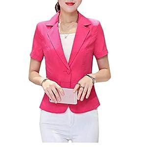 Sweetmini Damen Fashion Kurzarm Slim Fit One Button Coat Blazer Jacken