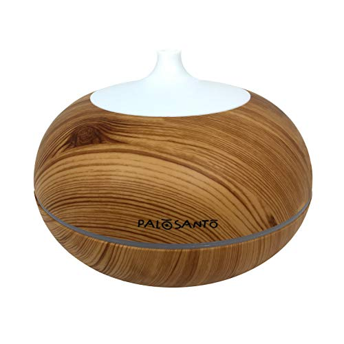 Etherische olie diffuser Palo Santo - Ultrasone vernevelaar geschikt voor aromatherapie - Stille luchtreiniger voor uw slaapkamer - Luchtbevochtiger - Ledverlichting in 6 300 ml