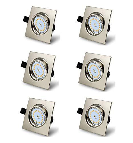 6er Set Led Einbaustrahler 230V Dimmbar GU10 Neutralweiß 4500K schwenkbar Deckenspots mit 5W austauschbarem Leuchtmittel Einbauleuchte Eckig Nickel gebürstet Einbauspots,Ra>82,120° Abstrahlwinkel