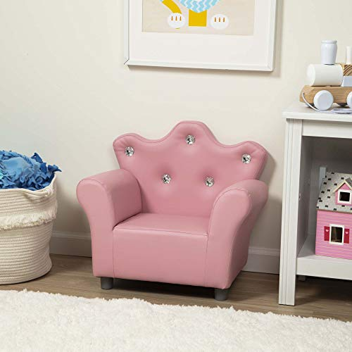Melissa & Doug Child's Crown Armchair - Pink Faux Leather