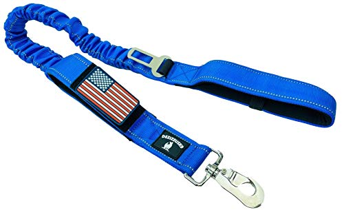 Tactical Bungee K9 Dog Leash - 1.5' INCH Wide Dog LEASHES for XL Dogs Heavy Duty Nylon Elastic Stretch Shock Absorbing Military Dogs Training LEASHES with Removable American Flag Patch (Blue, Solid)