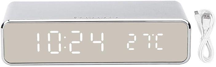 Juli cadeau Zilveren digitale wekker, draadloze oplader Android-thermometerklok, hotel voor kantoor