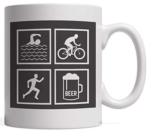 Beer Athlete - Funny Graphic Triathlon Mug for Triathlete Who Loves to Swim Bike and Run in Training or Competition for The Gold Medal! Gift for Biking, Swimming and Running Lovers