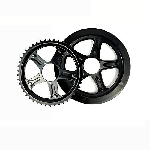 QQY Plato con guardia, 44/46/48/52T cadena anillo piñón reemplazo protector para motor Bafang para bicicleta de carretera, bicicleta de montaña, bicicleta BMX, piezas de bicicleta MTB (52 T)