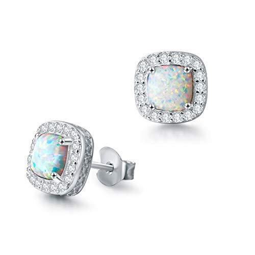 FANCIME Sterling Silver White Opal Necklace/Earrings Halo Pendant Stud Leverback Dangle Cubic Zirconia CZ Fire Opal Fine Jewelry Set for Women (Halo Stud Earrings)