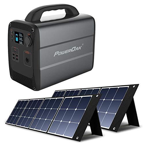 PowerOak Bluetti AC100 1000Wh Generador Solar Portátil con 2 Piezas Paneles Solares 120W, Generador Electrico con Salidas AC/DC/USB Power Station con Batería de Litio para Camping Autocaravan