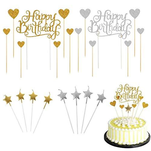 Geburtstagstorte Dekoration, Goldene Silber Alles Gute Zum Geburtstag Kuchen Dekoration Und Goldene Silber Stern Kuchen Kerze Dekoration Set