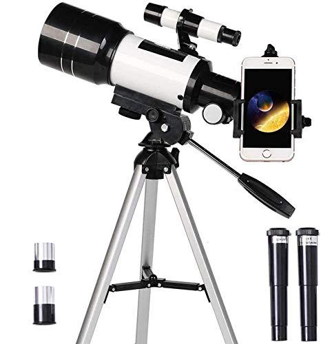 Telescopio para niños principiantes, 70 mm de apertura, 300 mm, telescopio astronómico refractor, trípode y buscador, telescopio portátil de viaje con adaptador para teléfono inteligente y telescopio