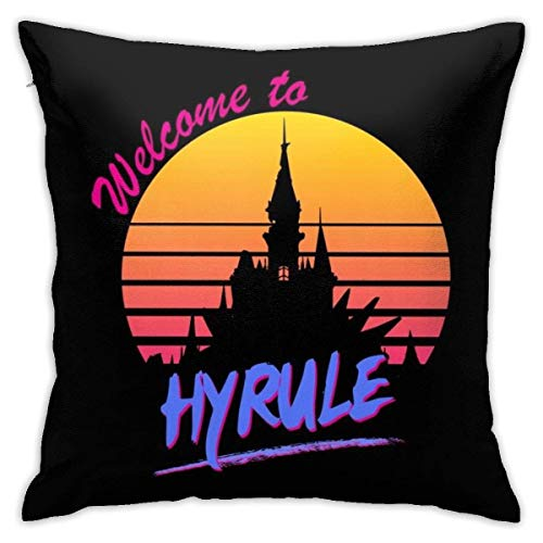 WH-CLA Cushion Case Legend Of Zelda 80S Retro Welcome To Hyrule Cushion Cover Cozy Couch Cushions Anime Sofa Bedroom 45X45Cm Zipper Sofa Colorful Personalized Durable Pillow Case Office