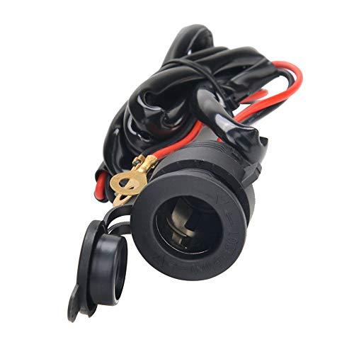 YGL 2ピースシガーライターソケット、車用マリンバイクATV RV用12V電源コンセント、ワイヤーヒューズ付き-ブラック