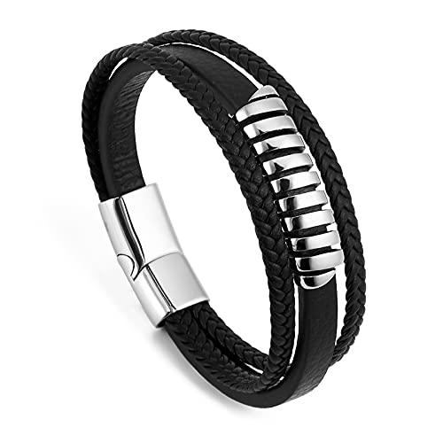 ZOUIQSS Pulsera de cuero unisex de los hombres de la pulsera de acero inoxidable de la alta calidad pulsera de la cuerda del cierre magnético de múltiples capas negro, L:21cm, Acero inoxidable Cuero,