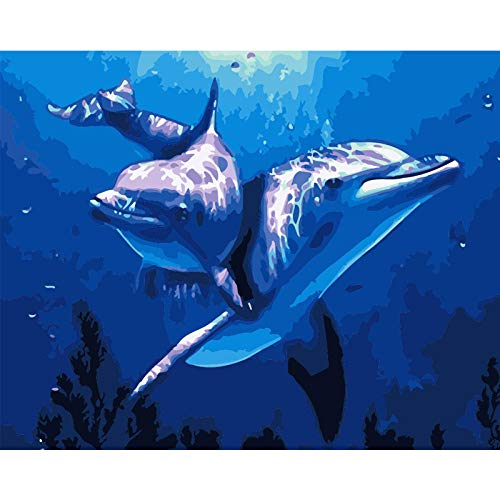 DIY 5D Diamond Painting Kit ,Adults,Children Beginners,Full Drill Cross Stitch Crystal Diamond Painting,Various Patterns,for Holiday Decorations Gifts- Swimming Dolphins 30x40cm