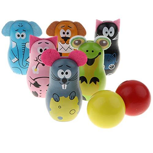 Holz Bowling Set Kegelspiel Spiele Bowlingkugel Kegel, Kinder Pädagogische Spielzeug, 2 Bälle und 6 Kegel