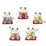 Farship Lifestyle Maneki Neko Lucky Cat Ceramic Figurines, Set of 5 for Happiness & Love