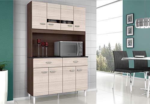 Cozinha Compacta Poquema Manu 8 Portas 2 Gavetas Com Detalhes Em Vidro - Amêndoa e Capuccino