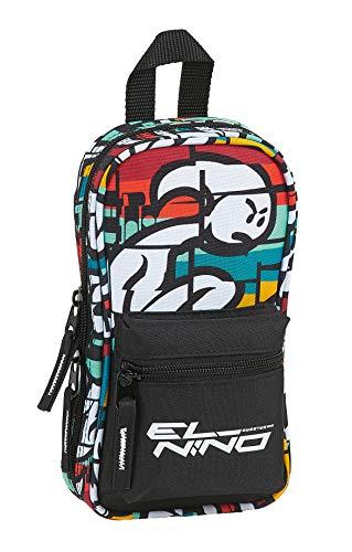 Safta Neceser con 4 Estuches y Útiles de El Niño Bali, 120x50x230mm, multicolor, m