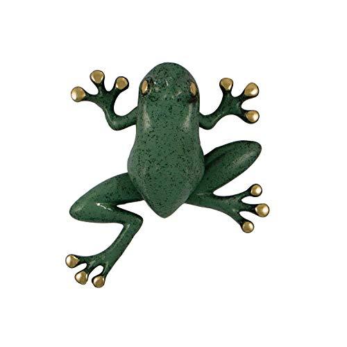 Tree Frog Door Knocker - Brass/Green Patina (Premium Size)