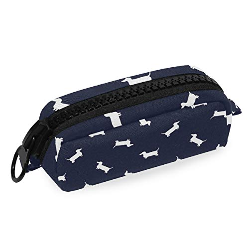 LORONA Dachshund Patroon Navy Leggings Pencil Case Rits Canvas Student Stationery Pen Bag Office Storage Organizer voor Vrouwen Meisjes Kids Tieners