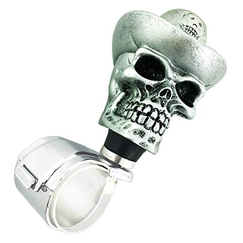 Abfer Knobs for Steering Wheel Power Handle Spinner Knob Skull Steering Wheel Turning Ball Silver Suicide Knob for Car Vehicles