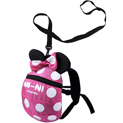 Baby Kind Sicherheitsgeschirr Rucksack Kind Kinder niedlich Cartoon Riemen Schulter Rucksack Tasche mit Zügeln Leine Rucksack (Rose rot, 1-3 Jahre alt)