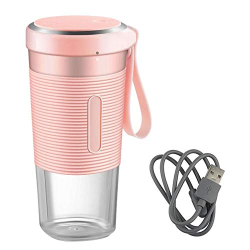 Draagbare Juicer - draagbare persoonlijke grootte blenders huishoud-elektrische vruchtenpers fruit cup opladen via USB (roze)