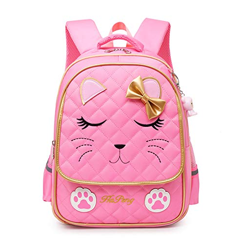 Hyundly Cat Face Waterproof School Backpack for Girls Book Bag(Large, pink)
