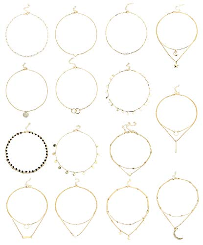 Besteel 15 Pieces Gold Layering Chain Choker Necklace Layered Pendant Statement Necklace for Women Girls