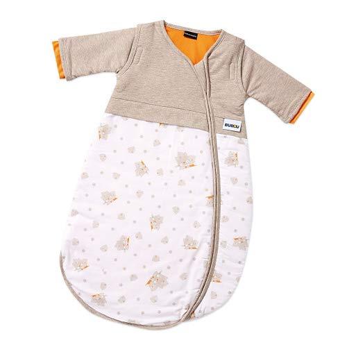 Gesslein Bubou Design 097: Temperaturregulierender Ganzjahreschlafsack/Schlafsack für Babys/Kinder, Größe 50/60, beige weiß mit Katzen