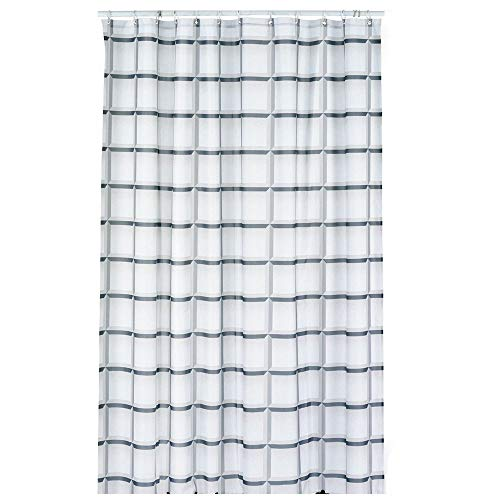 kela Duschvorhang Laneta 180x200cm aus Polyester in grau, 200 x 180 x 0.8 cm