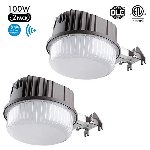 Lightdot 100W Outdoor LED Barn Flood Light with Photocell (9600Lm Eqv 500W) Dusk-to-Dawn 5000K for Yards Parking Lots Barns(2 Pack)