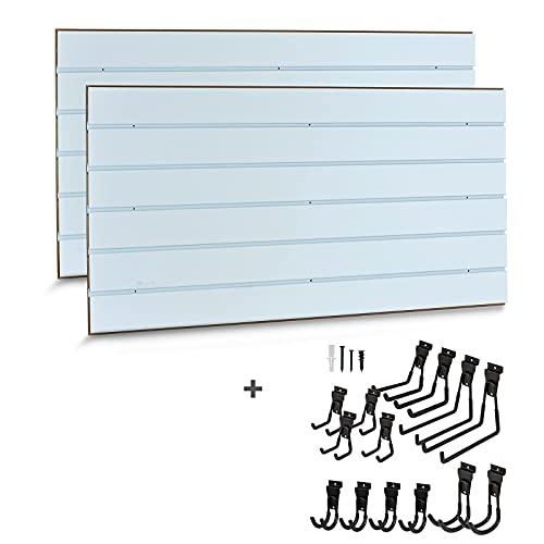 APL Display Slatwall Accessories - 2 Pack 4' x 2' Slatwall Panels with Removable Insert & Multi Size 14 Pack Slatwall Hooks Set for Garage, Garden, Shop, Basement Organizer