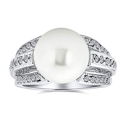 Bling Jewelry Bridal Pave CZ Solitario Bianco Simulato Pearl Fashion Statement Ring per Le Donne per Prom Argento Placcato Ottone