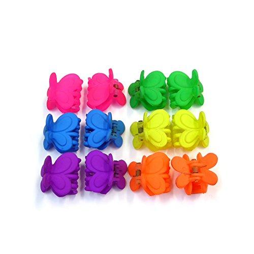 rougecaramel - Accessoires cheveux - Petite pince crabe cheveux 2.5cm 12pcs - couleurs assorties fluo