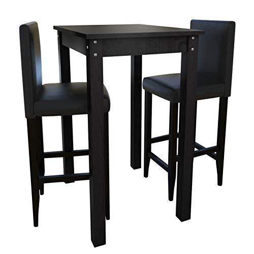 Cikonielf – Mesa de bar y 2 sillas altas – Conjunto de mesa de comedor de pie con 2 sillas, mesa de desayuno, mesa alta para cocina o restaurante, color negro