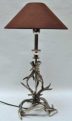 Sehr dekorative Tischleuchte mit Schirm, Fuß Aluminium, Geweih, Höhe 59 cm
