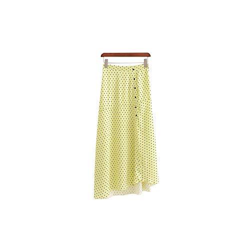 Faldas para mujer con estampado de lunares, una línea de botón, hasta el tobillo, faldas casuales, color azul